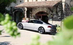 Обои BMW, старый дом, e63-e64, черепитца, из кустов, 6 series