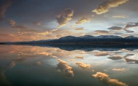 Картинка sunset, mountain, lake, snow