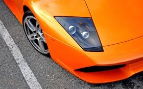 Картинка авто, асфальт, фара, капот, суперкар, lamborghini, supercar