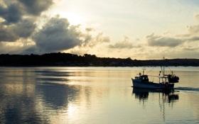 Обои облака, лодка, вечер