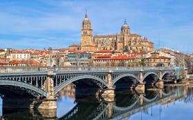 Картинка мост, река, дома, собор, Испания, Саламанка, Тормес