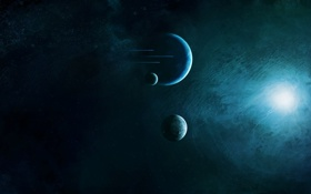 Картинка звезды, свет, планеты, спутники, звездолеты