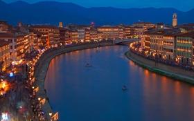 Картинка пейзаж, горы, ночь, огни, река, дома, Италия