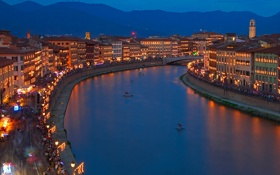 Картинка пейзаж, река, ночь, Тоскана, огни, дома, Пиза