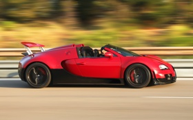 Обои Roadster, red, Bugatti Veyron, black, speed, Grand Sport, Vitesse