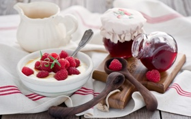 Обои ягоды, малина, завтрак, натюрморт, джем, творог
