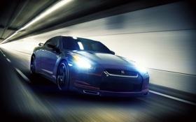 Картинка cars, скорость, auto, nissan gtr