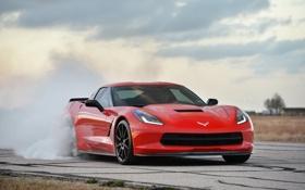Обои красный, фон, дым, Corvette, Chevrolet, Шевроле, суперкар