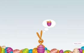 Обои праздник, яйца, кролик, Пасха, желания, морковь, мисли