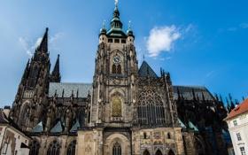 Обои небо, готика, башня, Прага, Чехия, собор Святого Вита