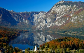 Обои лес, горы, озеро, городок, Словения, Bohinj Lake