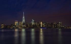 Картинка ночь, огни, отражение, Нью-Йорк, зеркало, Манхэттен, Нью-Джерси