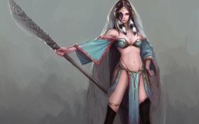 Картинка девушка, оружие, фэнтези, арт, клинок