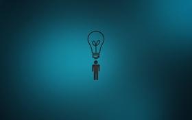 Обои лампочка, фон, человек, идея