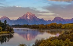 Обои осень, лес, горы, озеро, вечер, США, Wyoming