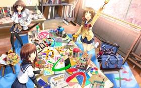 Обои стол, краски, карандаши, арт, рисунки, скульптура, мастерская