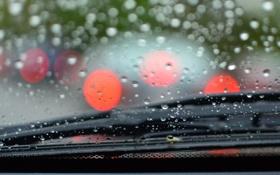 Обои стекло, капли, дождь, размытость, автомобиль
