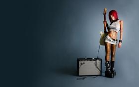 Картинка розовый, гитара, юбка, дувушка, усилитель, baby