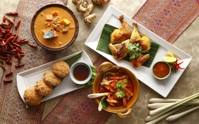 Обои курица, суп, перец, соус, блюда, котлеты, китайская кухня