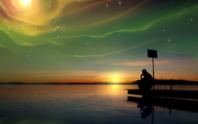 Обои закат, задумчивость, озеро, сияние, человек, by Robin De Blanche, Natural Dimension