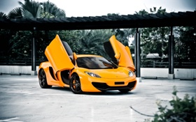 Обои оранжевый, McLaren, навес, wheels, black, вид спереди, MP4-12C