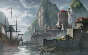 Картинка горы, замок, скалы, корабль, порт, парус