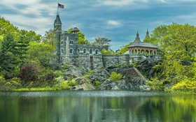 Картинка озеро, парк, замок, Нью-Йорк, Манхэттен, Manhattan, New York City