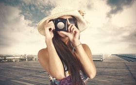 Картинка небо, девушка, фон, обои, настроения, шляпа, камера