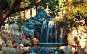 Картинка деревья, парк, ручей, камни, водопад, обработка