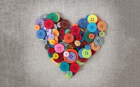 Картинка сердце, сердечки, ткань, пуговицы, серая
