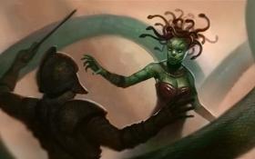 Картинка змеи, человек, арт, шлем, щит, миф, Медея