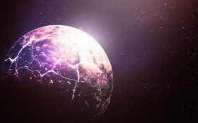 Обои космос, звезды, трещины, планета, арт