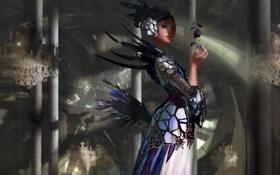 Картинка девушка, камни, перья, платье, арт, колонны