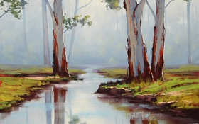 Обои АРТ, РИСУНОК, ARTSAUS, RED RIVER GUMS AUSTRALIA