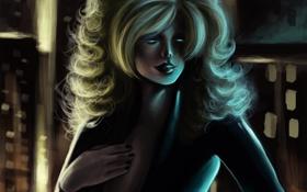 Картинка девушка, город, рука, арт, капюшон