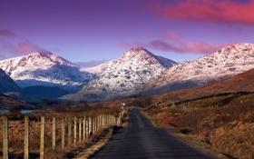 Обои пейзаж, горы, дорога