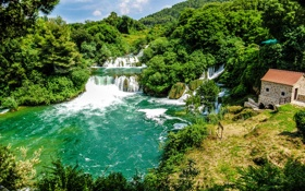 Обои лес, природа, парк, река, фото, водопады, Хорватия