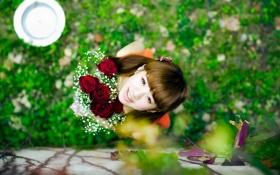 Обои взгляд, розы, девочка