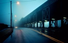 Картинка По эстакаде, Along the Viaduct, пасмурно, дорога
