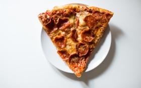 Обои сыр, пицца, колбаса, кусок, кусочек