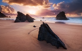 Картинка камни, Синтра, море, песок, берег, Португалия, Michael Breitung
