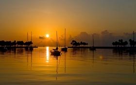 Картинка закат, яхты, вечер