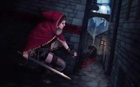 Картинка девушка, город, оружие, улица, монстр, меч, арт
