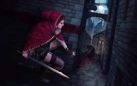 Картинка монстр, девушка, меч, улица, Bram Sels, город, оборотень
