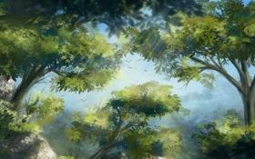 Картинка листья, деревья, птицы, природа, листва, арт, крона