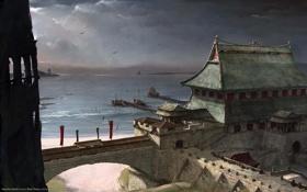 Обои море, волны, пейзаж, город, пристань, корабли, арка