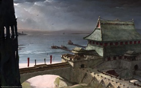 Картинка море, волны, пейзаж, город, пристань, корабли, арка