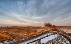 Обои пейзаж, поле, снег, забор, дорога