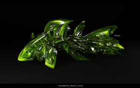 Обои зелень, завитушка, glass, serialism 2 0