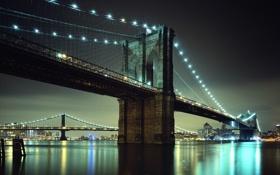 Картинка Нью Йорк, New York, Brooklyn Bridge, Бруклин, Brooklyn